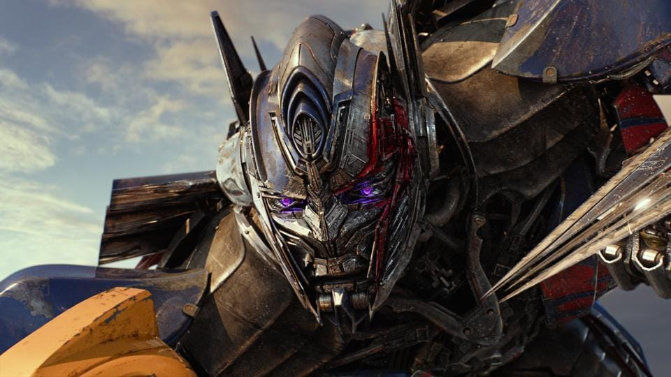 This image released by Paramount Pictures shows Optimus Prime in a scene from, Transformers: The Last Knight.