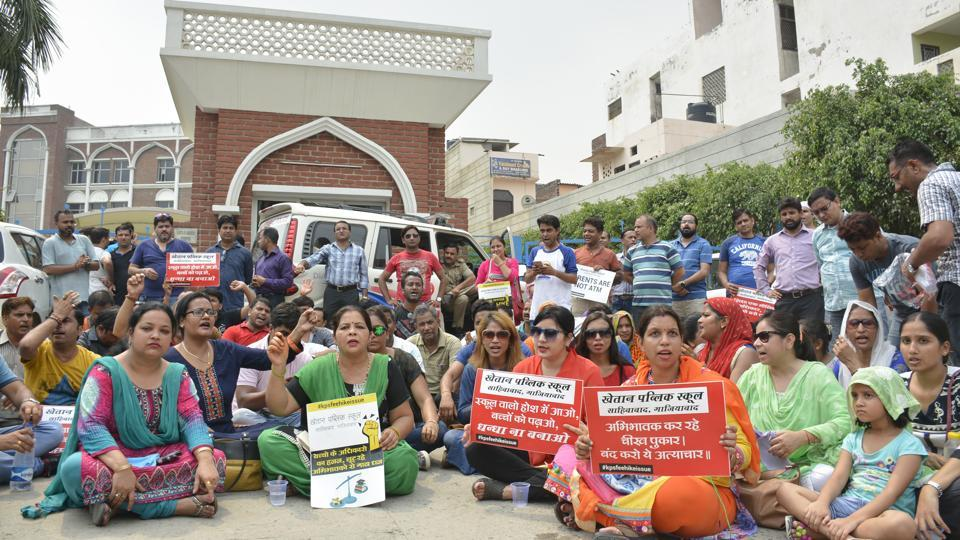 Nearly 200 persons, including parents, had gathered outside the school after the management had expelled 29 students by issuing transfer certificates.