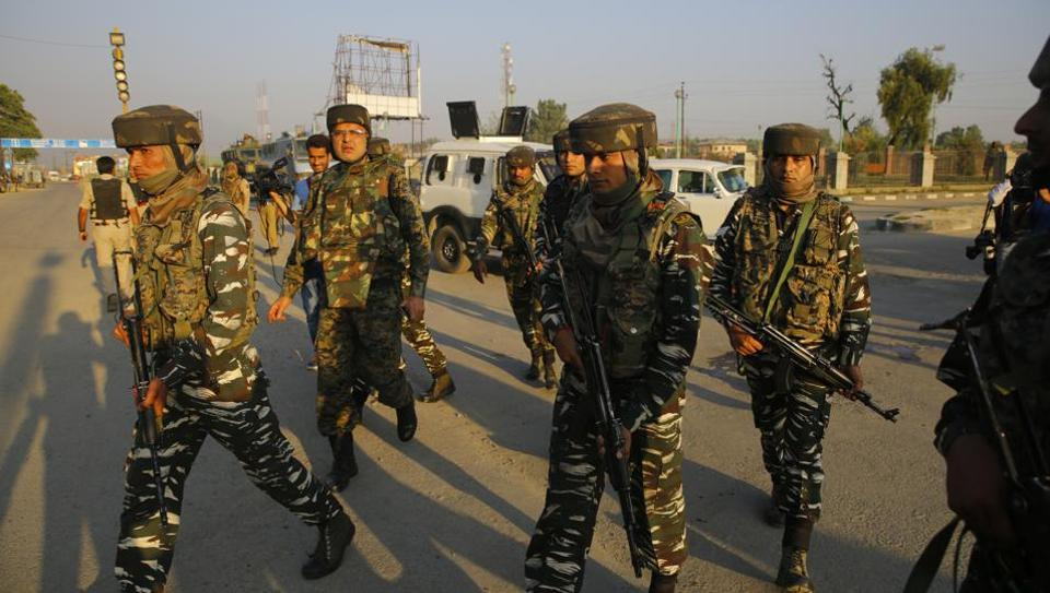 Army personnel cordon off the area surrounding the Delhi Public School after militants attacked a CRPF patrol party, killing a sub-inspector, in Srinagar's Pantha Chowk area on Saturday.