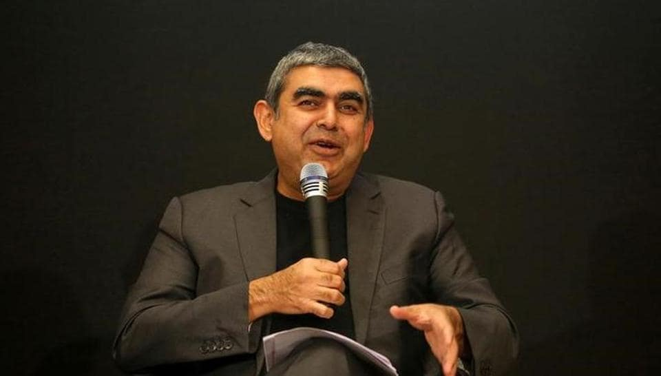 Infosys CEO Vishal Sikka speaks with the media during the announcement of the company's quarter results at its headquarters in Bengaluru.