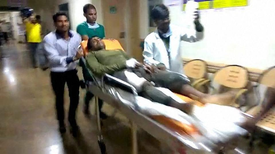 A jawan being taken to a hospital after Maoist attack in Sukma, Chhattisgarh.