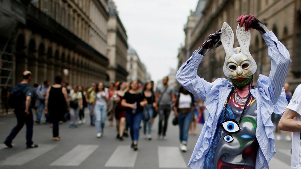 A participant takes part in the annual Gay Pride parade in Paris, France on June 24, 2017.  (Gonzalo Fuentes/REUTERS)