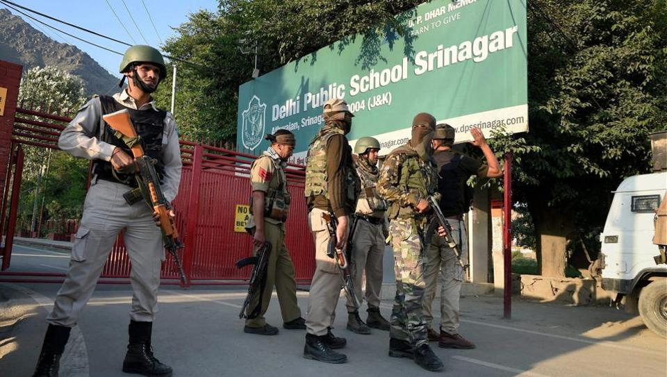 Special task force of police outside DPS Srinagar where the encounter took place on Sunday.