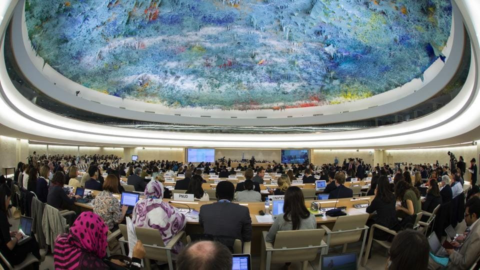 A meeting of the UN Human Rights Council underway.