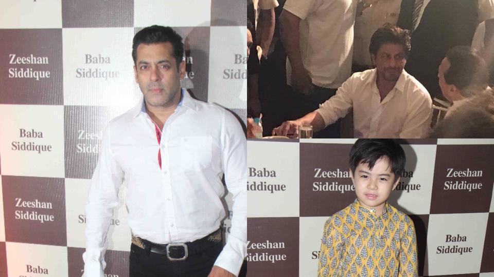 Salman Khan, Shah Rukh Khan and Matin Rey Tangu at Baba Siddique's iftar party.