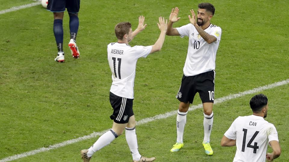 Germany beat Cameroon 3-1 in their final Group B game in FIFA Confederations Cup 2017. Catch highlights of Germany vs Cameroon here.