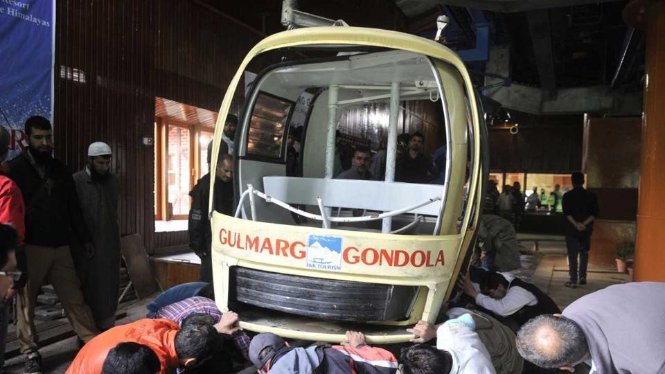 Seven tourists were killed when a cable car crashed after a tree fell on the cable in Gulmarg.