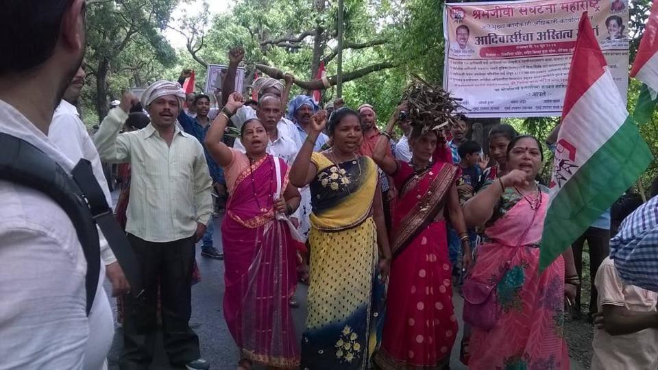 Tribals protest againstSRA scheme in Mumbai's Aarey Milk Colony.