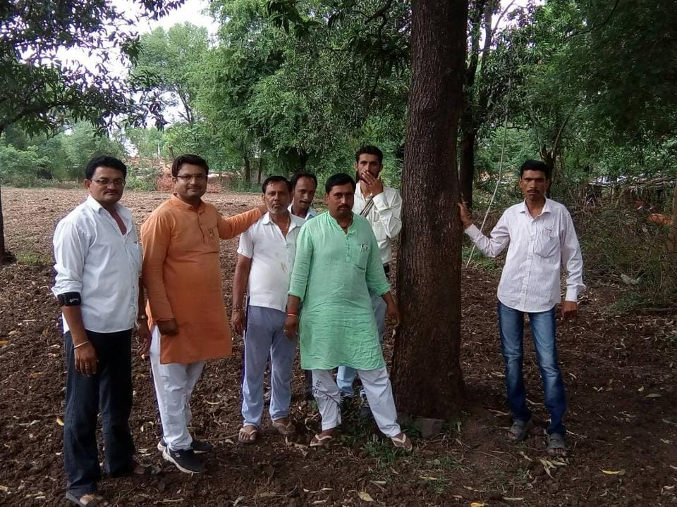 Members of Panchayat and cooperative society inspecting the tree before releasing money to farmer Supyar Singh Rajpoot.