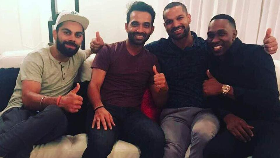 The Indian cricket team players visited Dwayne Bravo's home after the 2nd ODI against West Indies.