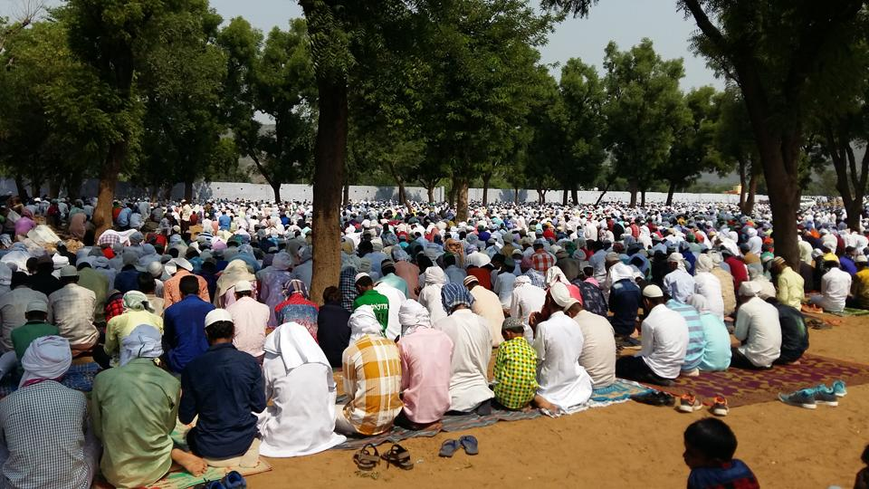 Muslims offer prayers on the occasion of Eid-ul-Fitr at Mewat on Monday.