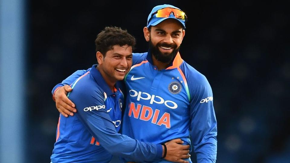 Kuldeep Yadav took three wickets as India thrashed West Indies by 105 runs in the second ODI of the five-match series at Port of Spain.