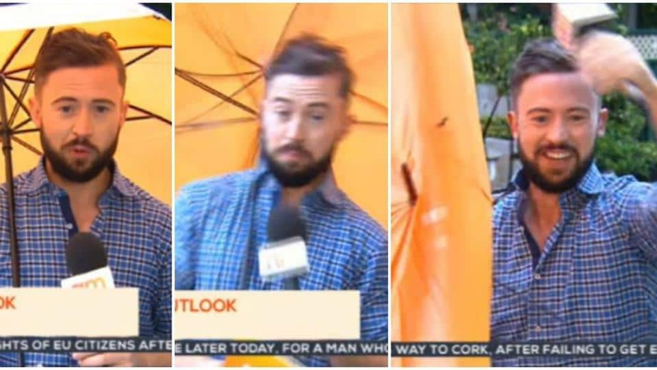 An Irish weatherman gets blown away by a strong gust of wind during live broadcast.