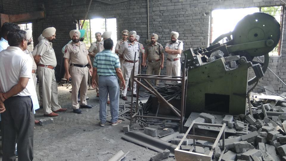 Three persons were killed and two injured on June 21 when a hydraulic machine exploded in a unit manufacturing electrical implements at Fatehgarh Chhanna village.