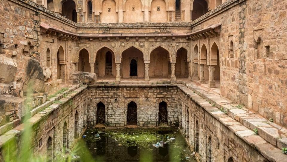 The National Capital of Delhi is dotted with Baolis or historical step wells, some of them built as far back as the 14th century. Many of Delhi's over 20 baolis are now buried under the earth or obscured by modern construction. Once prominent sources of ground and harvested rainwater, these heritage structures have slipped into disuse with their waters now standing stagnant and littered, as breeding grounds for diseases in the upcoming monsoon season. (Abhirup Biswas / HT Photo)