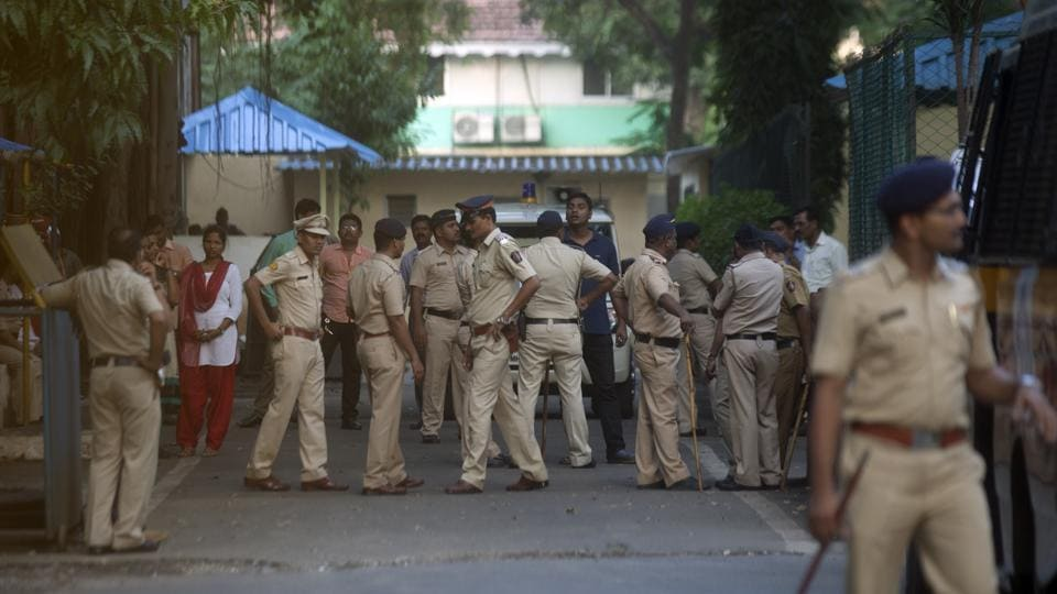Police security inside Byculla Woman Jail in Mumbai.