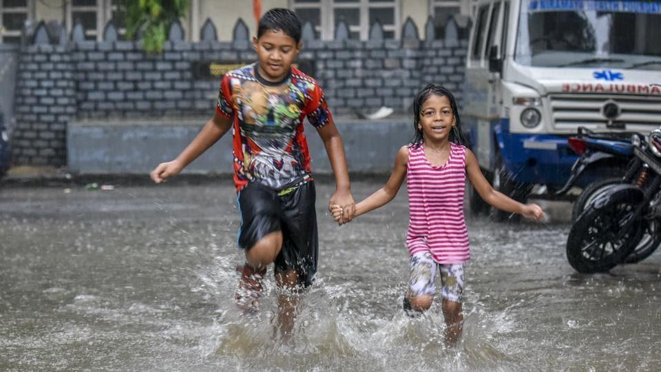 Children splash about at Hindamata in Mumbai.