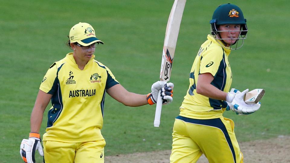 Australia's Nicole Bolton celebrates reaching her half century as Beth Mooney (R) looks on. Catch full cricket score of Australia vs West Indies, ICC Women's World Cup 2017 game here