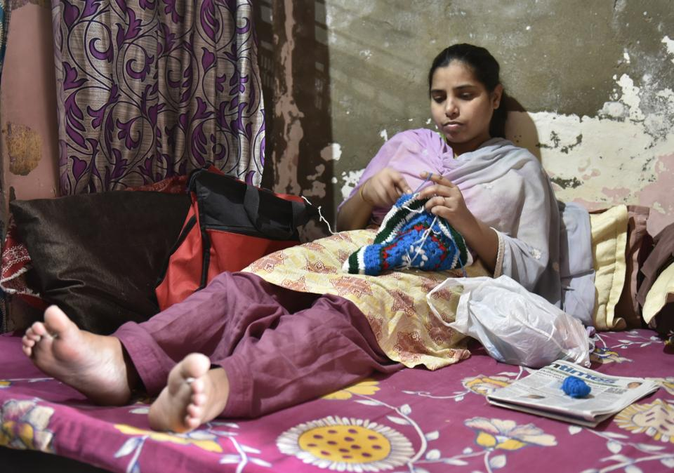 Savita, who is suffering from a rare bone problems at her residence in Shahadra in New Delhi.