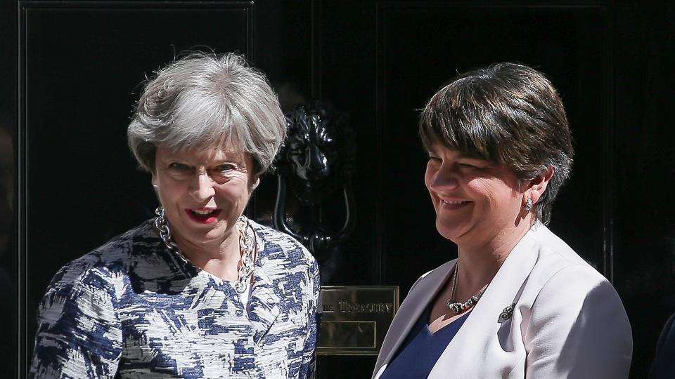 Britain's Prime Minister Theresa May (left)  with Democratic Unionist Party leader Arlene Foster at 10 Downing Street on Monday.