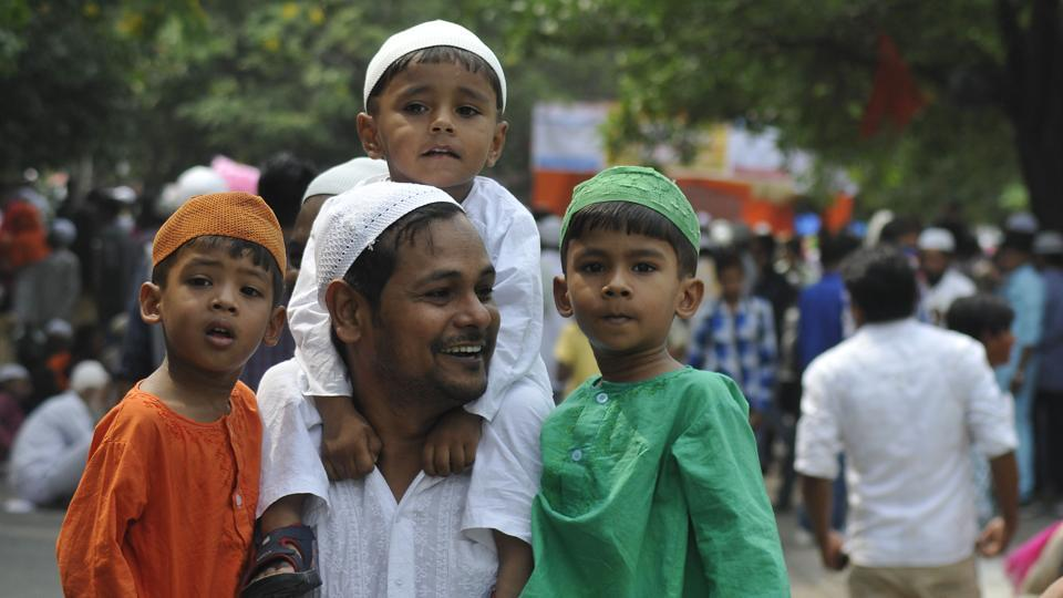 People celebrating Eid in Sector 20, Chandigarh on Monday.