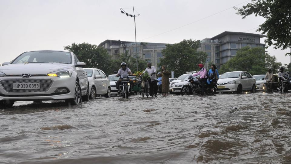 The Piccadilly roundabout in Sector 34 gets inundated the moment it rains heavily. This was the scene at the roundabout on June 19.