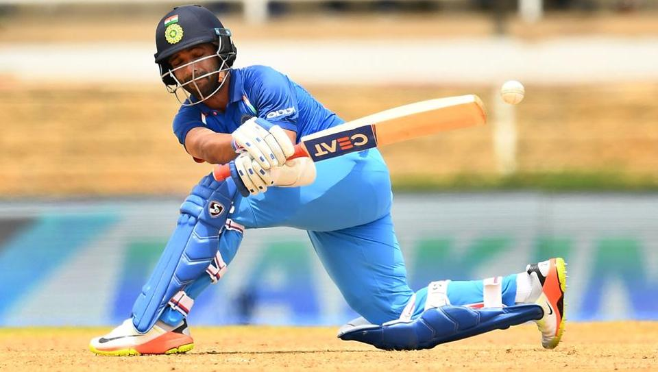 India's Ajinkya Rahane plays a shot during the second One Day International (ODI) match between West Indies and India at the Queen's Park Oval in Port of Spain, Trinidad.