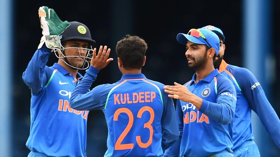 India registered a huge 105-run win over West Indies in the second ODI at Port of Spain to take a 1-0 lead in the five-match series. Ajinkya Rahane scored a ton while Kuldeep Yadav put in a brilliant performance on his debut. (AFP)