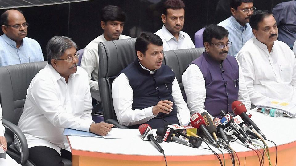 Maharashtra chief minister Devendra Fadnavis announces the loan waivers in press conference  in Mumbai on Saturday.