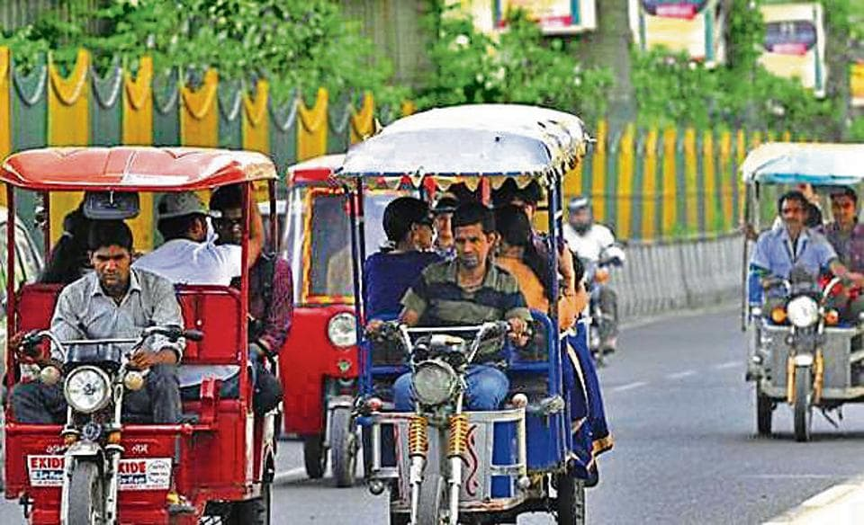 A notice issued by the transport department this week said that the registered owners of e-rickshaws in Delhi will be considered for a subsidy of Rs30,000 only after they provide their Aadhaar card details.
