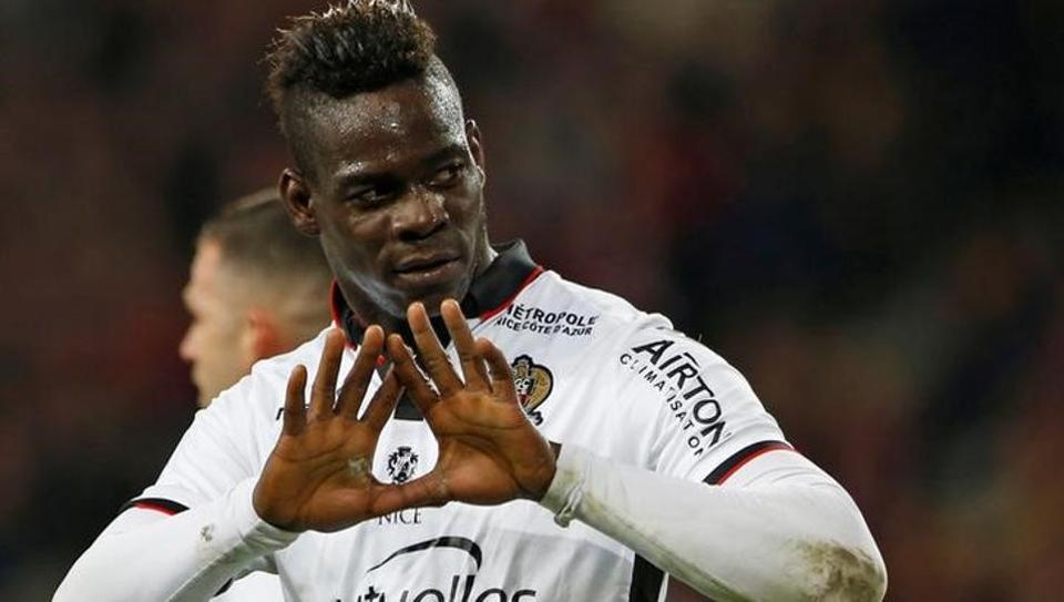 Nice's Mario Balotelli reacts after scoring for his team in Ligue 1.