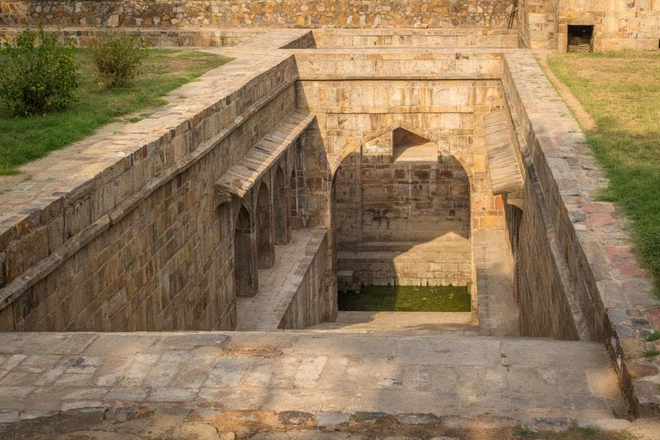 The Red Fort Baoli which lies deep inside Red Fort .