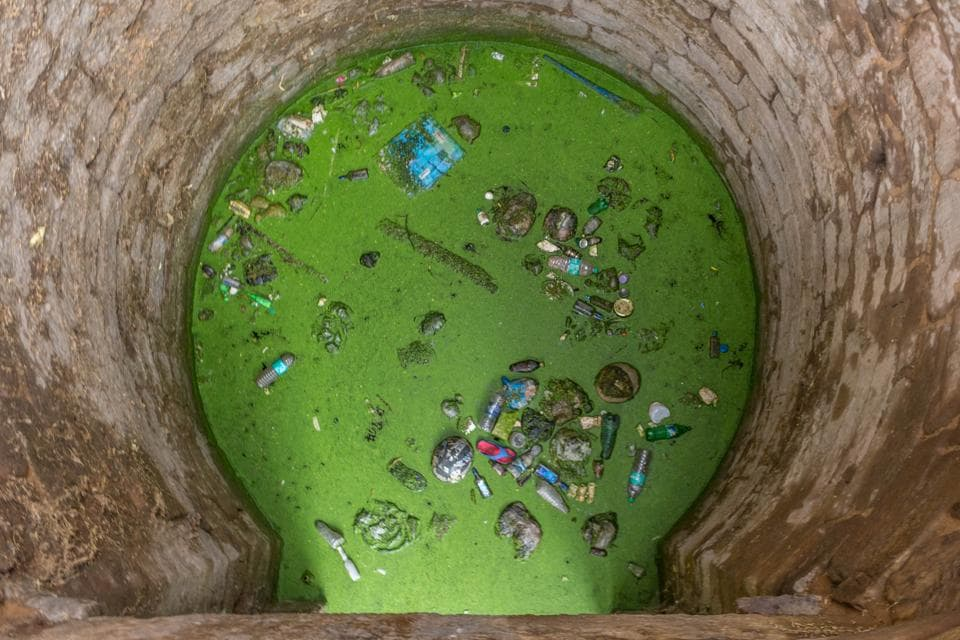 The well of 'Gandhak ki Baoli' is littered with plastic bottles and the stagnant water is covered in green moss.