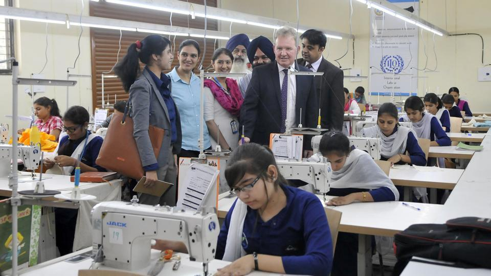 Andrew Ayre, British deputy high commissioner, interacting with the students and management staff of Multi Skill Development Centre in Ludhiana in May. The World Bank approved a $250 million loan amount towards Skill India Mission Operation.