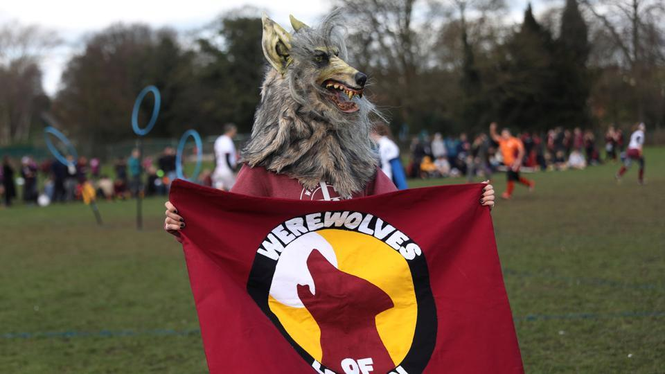 A supporter in a werewolf costume watches teams take part in the Harry Potter inspired, Quidditch British Cup in Rugeley, Britain. (Neil Hall/Reuters)
