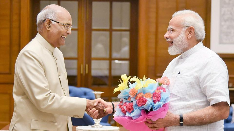Bihar Governor Ram Nath Kovind with Prime Minister Narendra Modi in New Delhi, June 19.  His background, his views and his personality make him suitable for the President's post