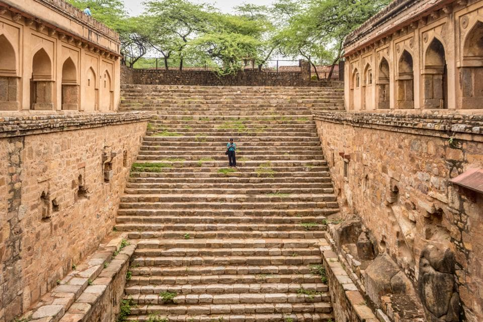 The baolis, or step wells, of Delhi were built by its early rulers as secular structures that drew water from the ground in the dry season and harvested rain water during the monsoon for use by the community at large.