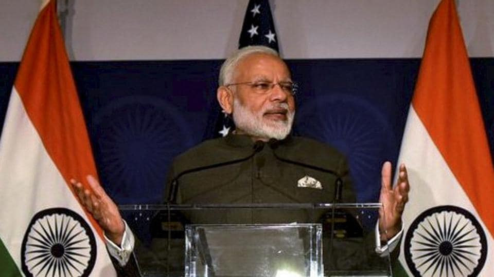 Prime Minister Narendra Modi speaking at the United States Community Reception in Washington DC on Sunday.