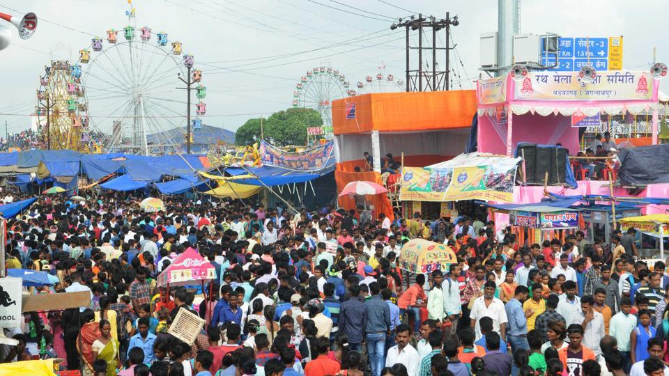 Rural visitors during a fair on Rath Yatra before the historic Jaganathpur temple in Ranchi.