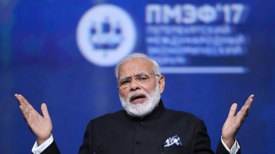 Narendra Modi gestures during a session of the St. Petersburg International Economic Forum (SPIEF), Russia.