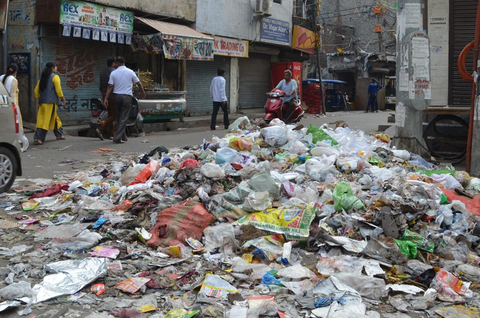 Garbage lied unattended on Parwana Road in East Delhi.