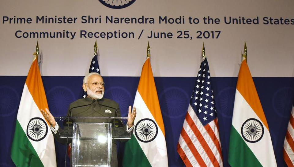 Prime Minister Narendra Modi attending a reception in Washington DC to meet members of the Indian community in the US on Sunday.