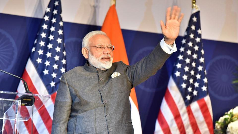 This handout photograph from the Indian Press Information Bureau (PIB) taken on June 25, 2017 shows Indian Prime Minister Narendra Modi attending a reception to meet members of the Indian community in the United States, in Washington DC on June 25, 2017.