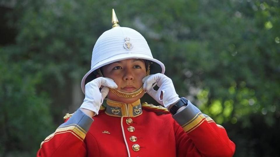 Captain Megan Couto of the 2nd Battalion, Princess Patricia's Canadian Light Infantry, prepares to command the Queen's Guard, during the Changing of the Guard ceremony.