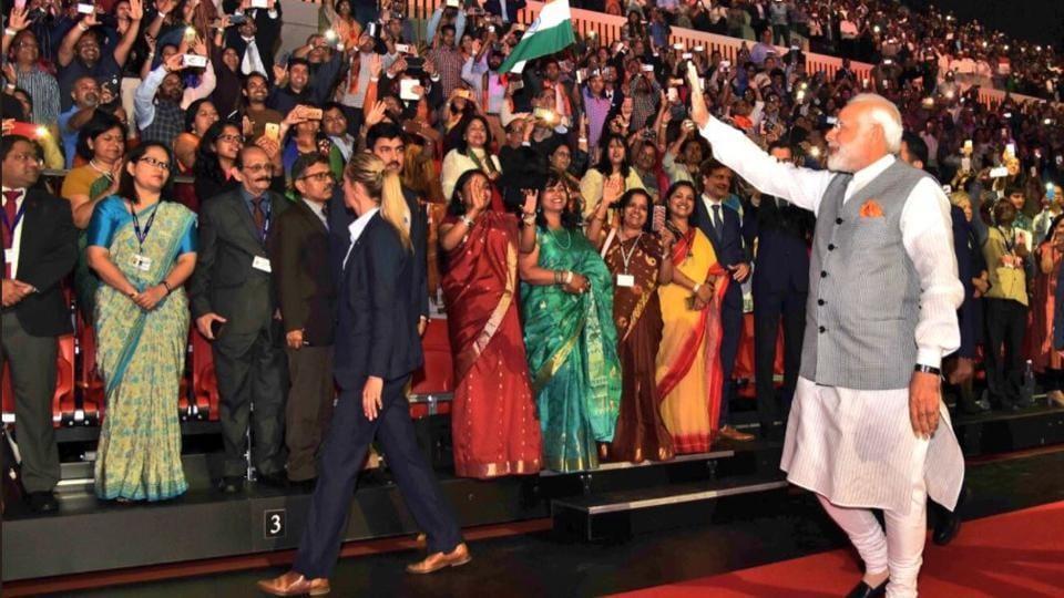 Prime Minister Narendra Modi addresses the Indian community members in Netherlands.