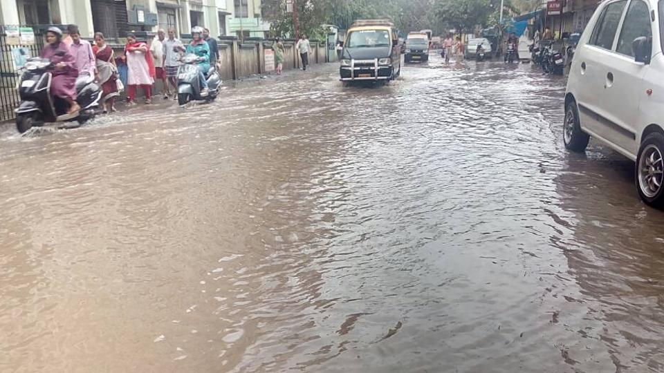 A flooded street at Sion.