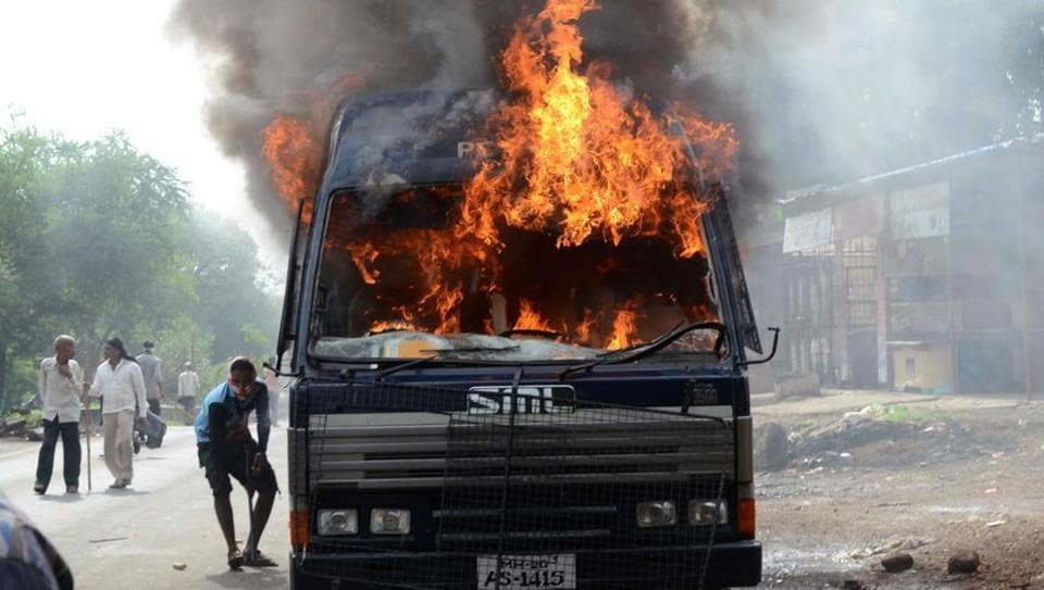 The protesters assaulted policemen, set seven police vans on fire, and locked traffic last Thursday.