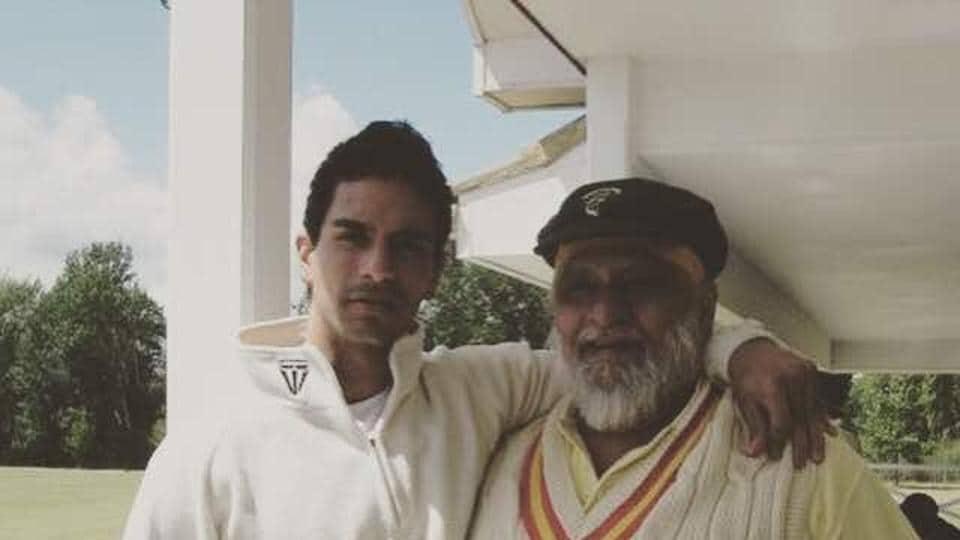 Angad with his dad Bishan Singh Bedi.