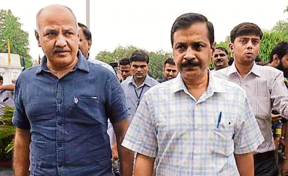 Chief Minister Arvind Kejriwal and  Deputy Chief Minister Manish Sisodia arrive a special Delhi Assembly Session on GST recently.