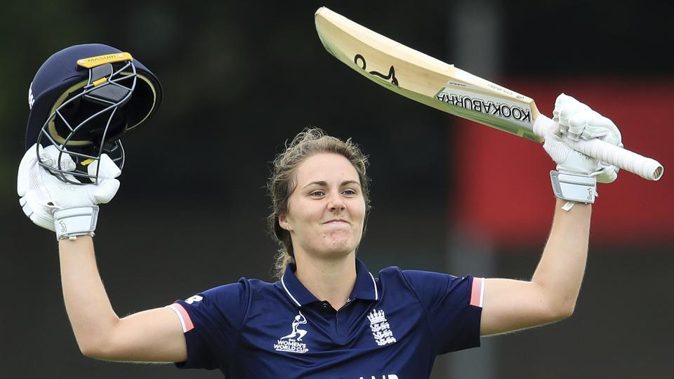 England's Natalie Sciver celebrates reaching 100 runs against Pakistan during the ICC Women's Cricket World Cup. England won the game by 107 runs (D/L method)